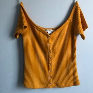 Mustard Yellow Ribbed Off the Shoulder Top
